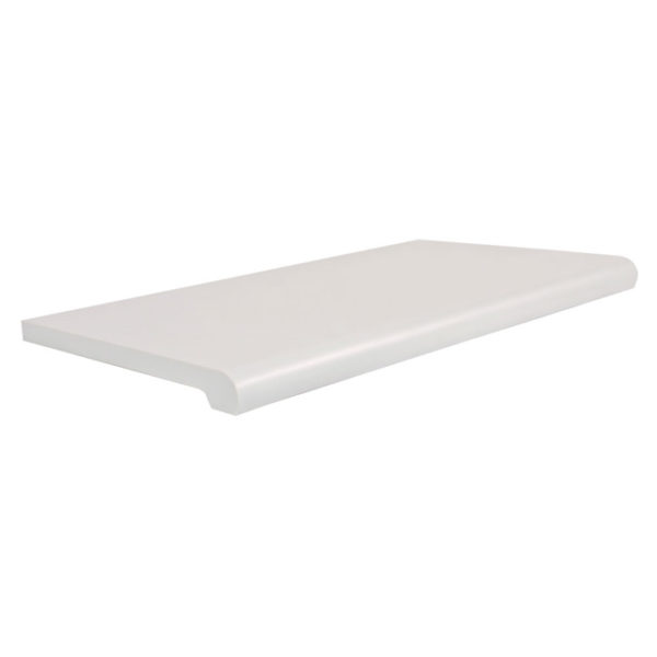 white bullnose shelves